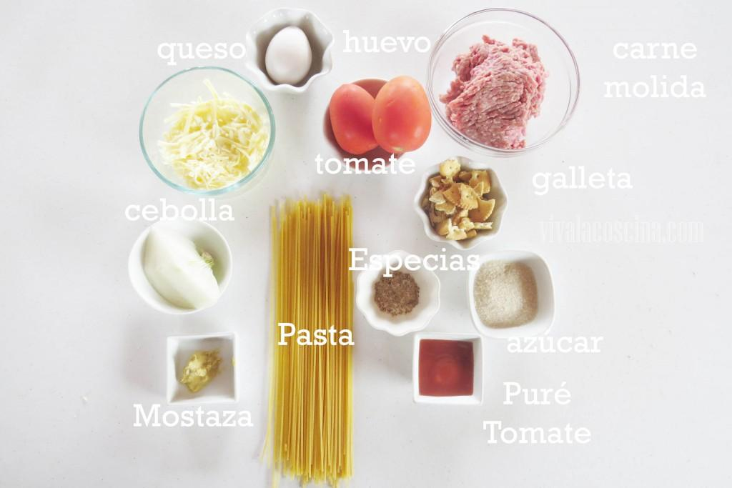 Ingredientes para la receta de Spagueti con Albóndigas