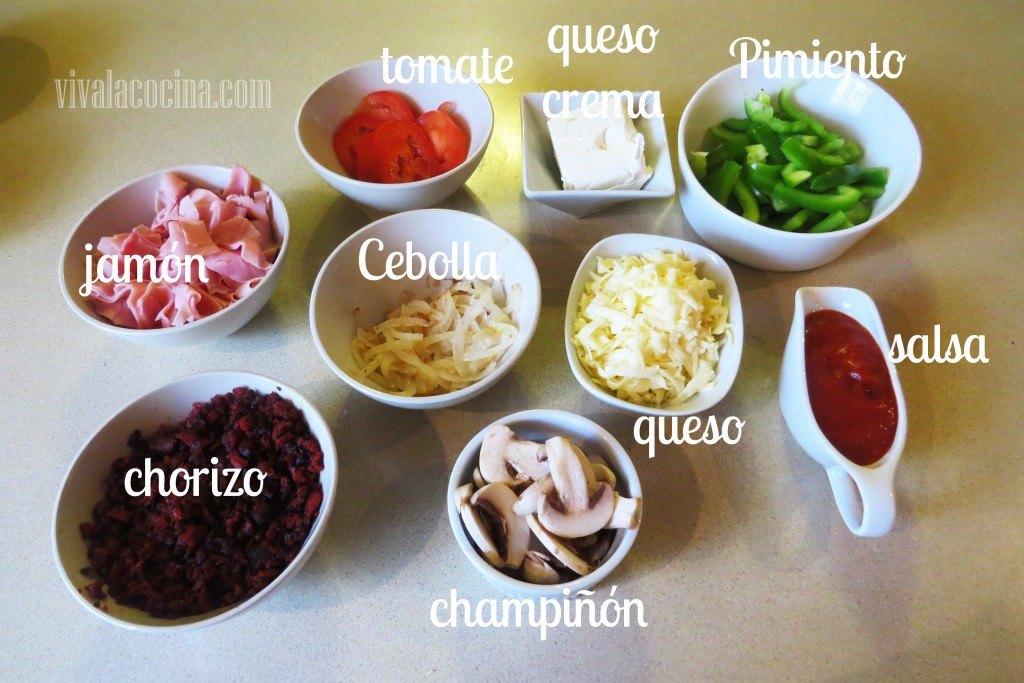 Ingredientes para el relleno del Calzone