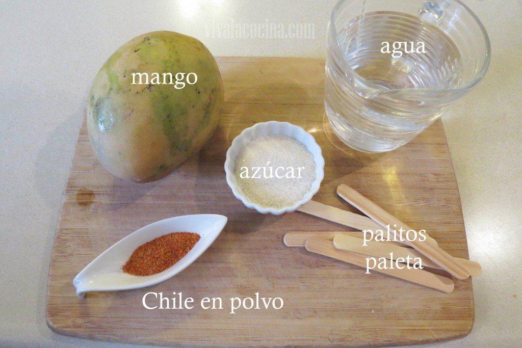 Ingredientes para cocinar Paletas de Mango