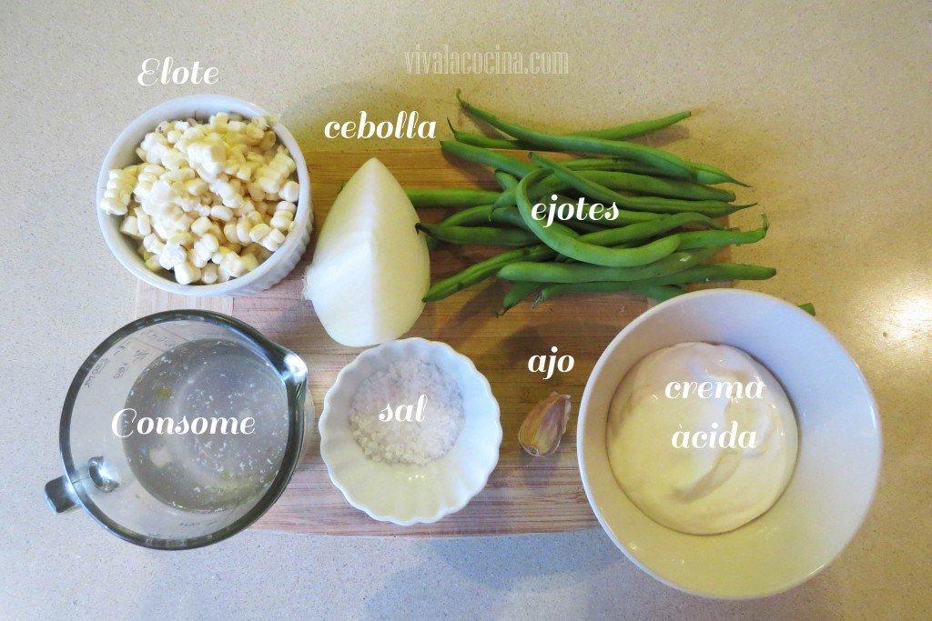 Ingredientes para la Crema de Ejote