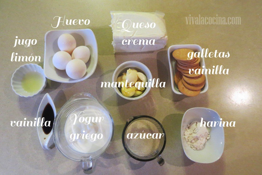 Ingredientes para la recta del cheesecake