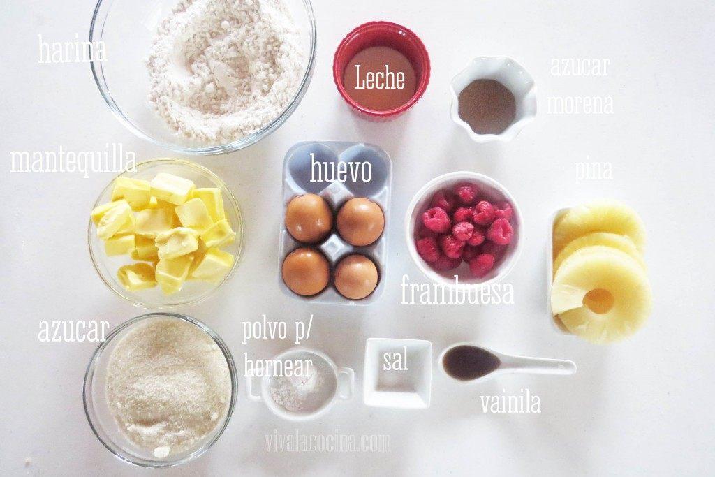 Ingredientes para preparar el Volteado de piña y frambuesas
