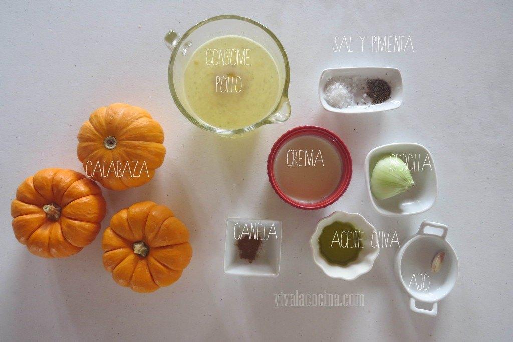 Ingredientes para la receta de Crema de Calabaza
