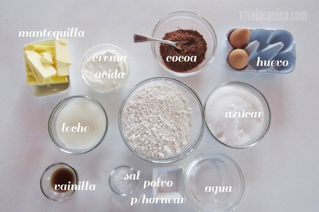 Ingredientes para la rosca de chocolate