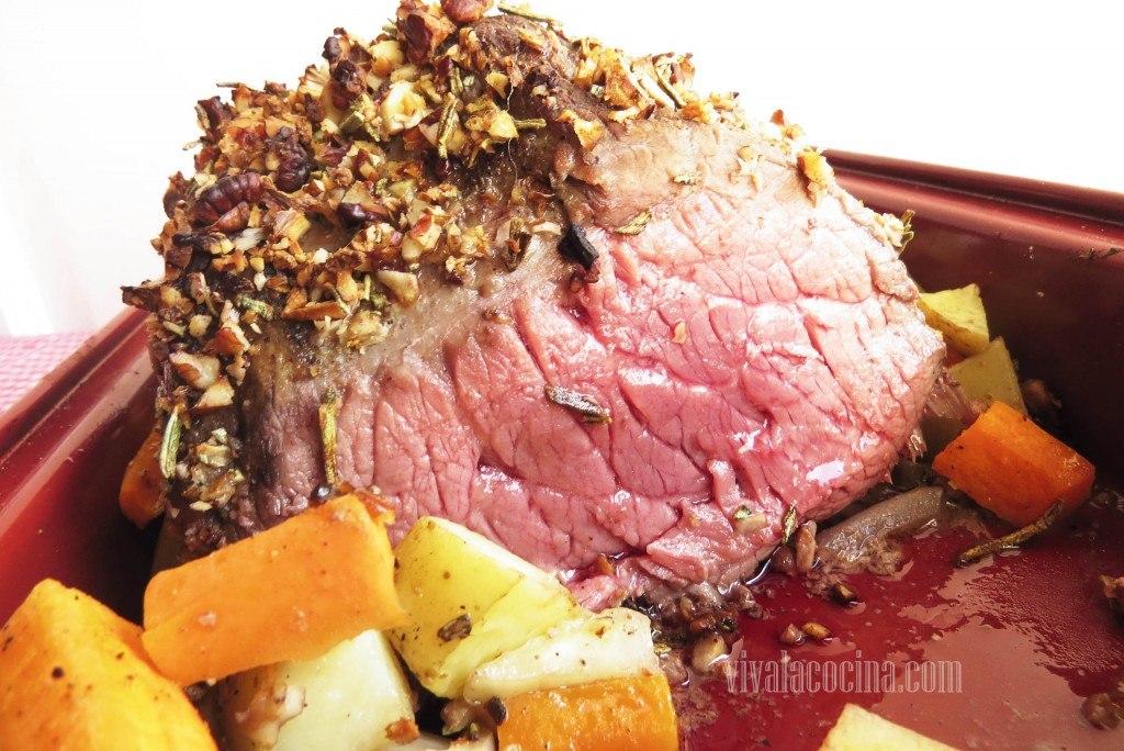 Carne al horno en su punto de cocción