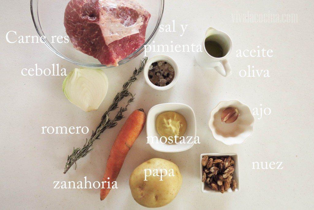 Ingredientes para preparar la Res al horno con Mostaza y Nueces