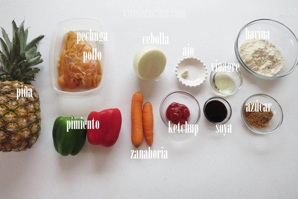 Ingredientes para preparar el Pollo Agridulce