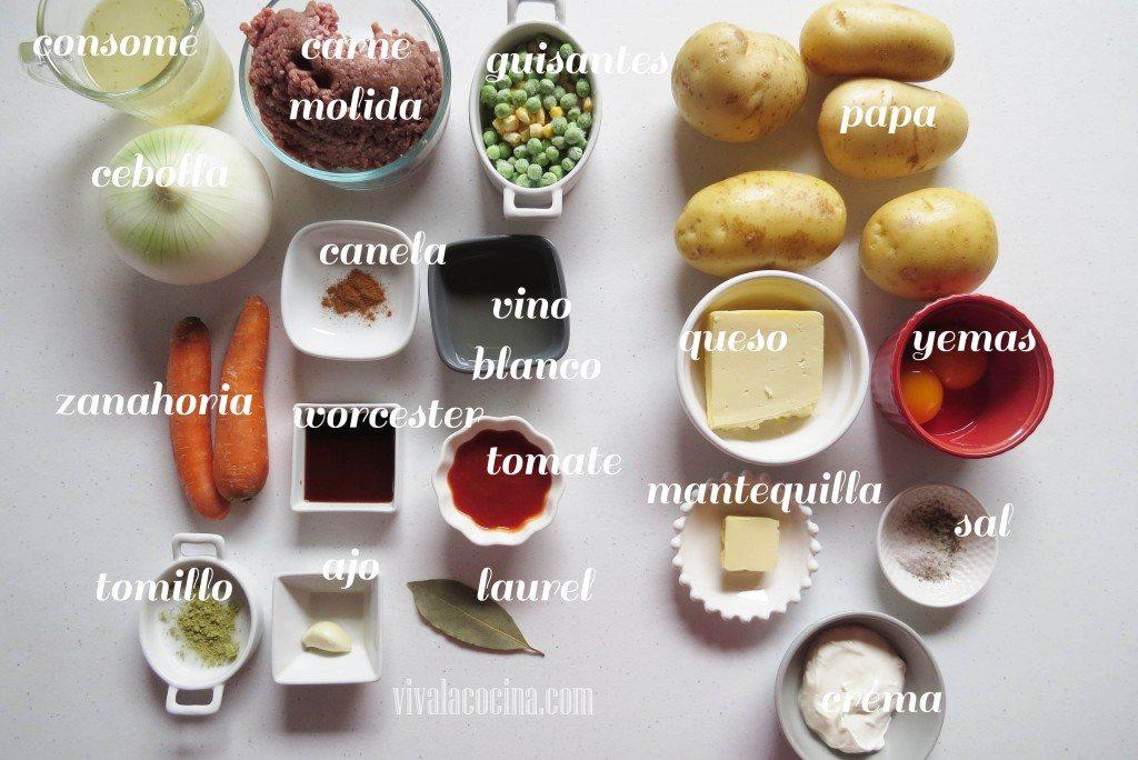 Ingredientes para preparar la receta de Pastel de Carne y Patatas