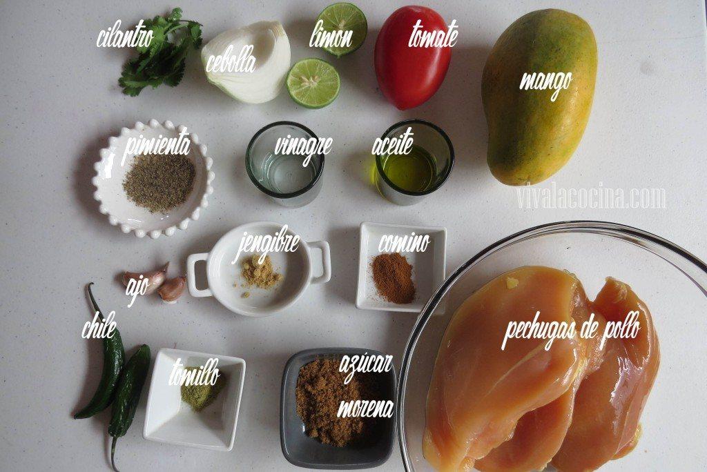 Ingredientes para preparar la receta de Pechuga de Pollo con Salsa de Mango Picante