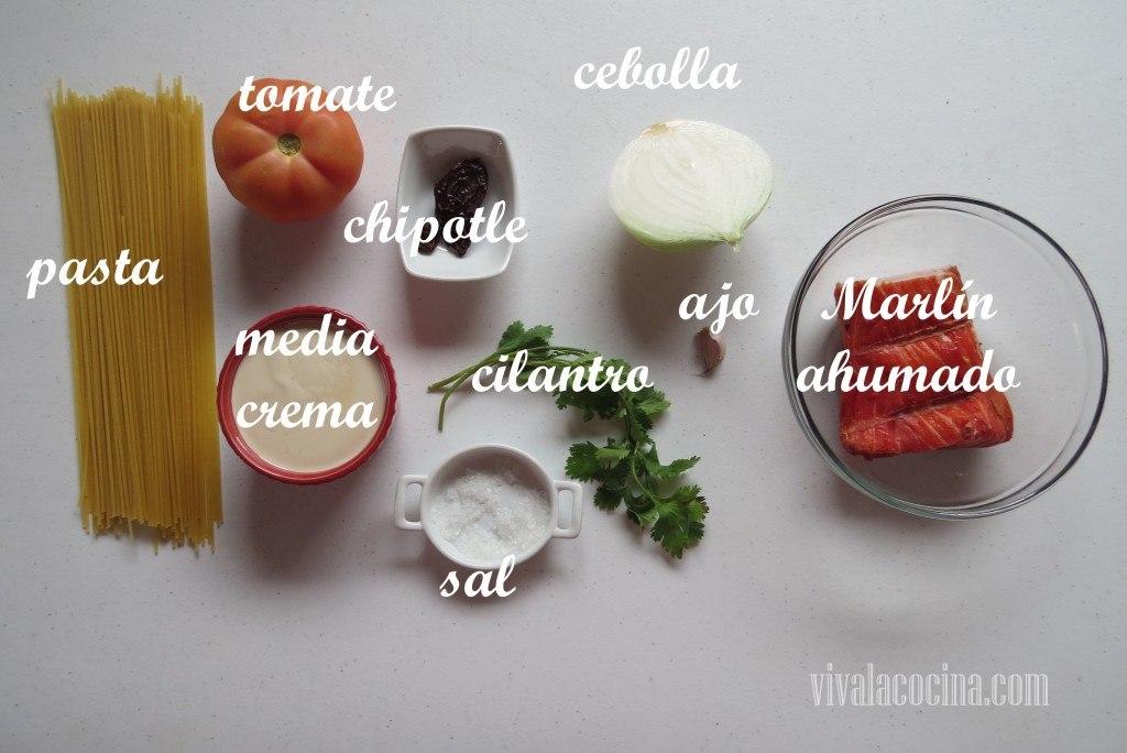 Ingredientes para preparar la receta de Pasta Cremosa con Marlín Ahumado