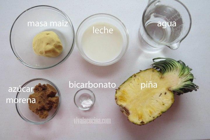 Ingredientes para el Atole de Piña