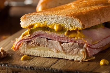 Homemade Traditional Cuban Sandwiches with Ham Pork and Cheese