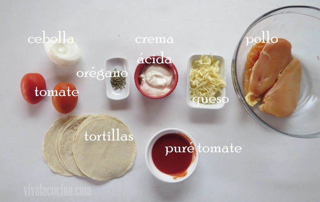 Ingredientes para preparar la receta de Enchiladas Suizas con Salsa Cremosa de Tomate