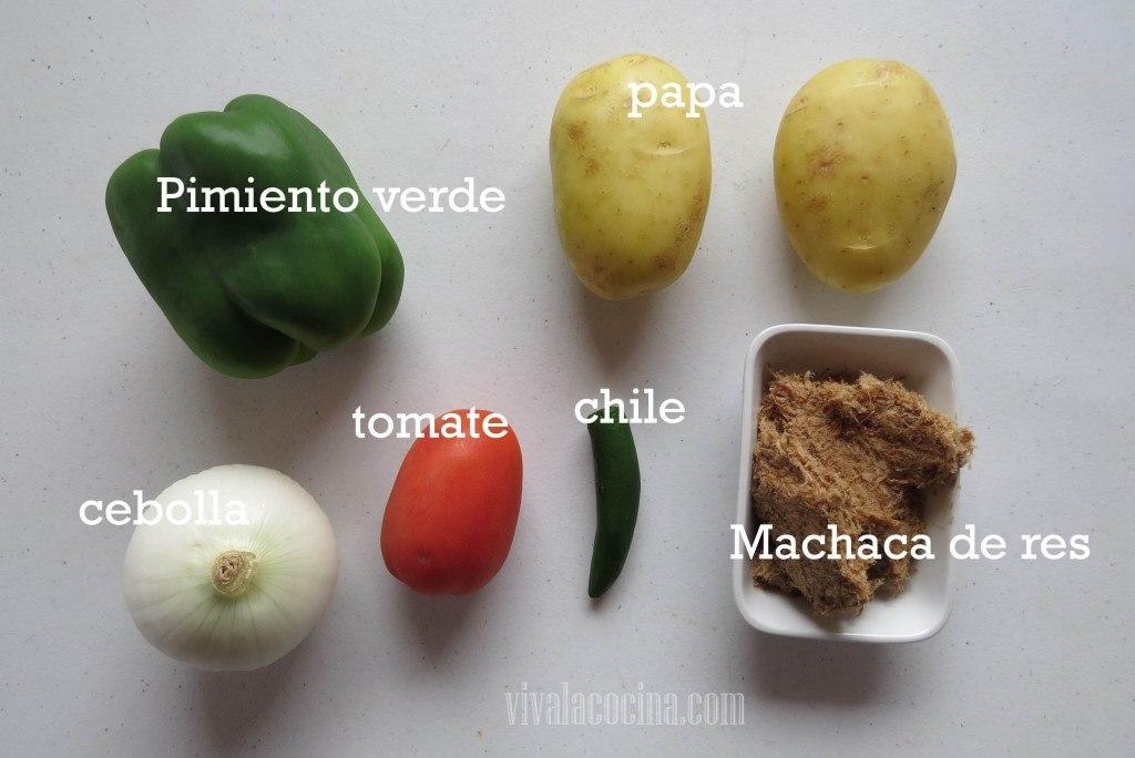 Ingredientes para la receta de Receta de Machaca con Papas