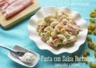 Pasta en Salsa Bechamel con Guisantes y Jamón