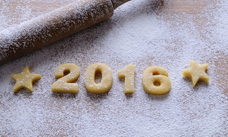 2016 homemade cookies on wooden table in the kitchen