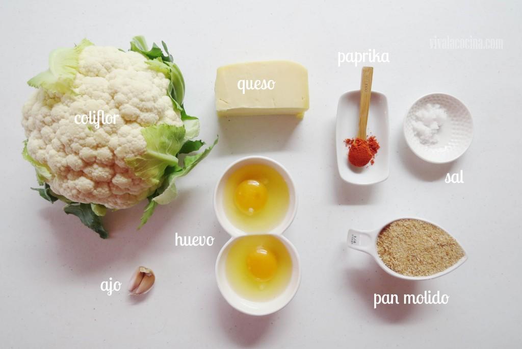 Ingredientes para preparar la receta de Tortitas o Frituras de Coliflor