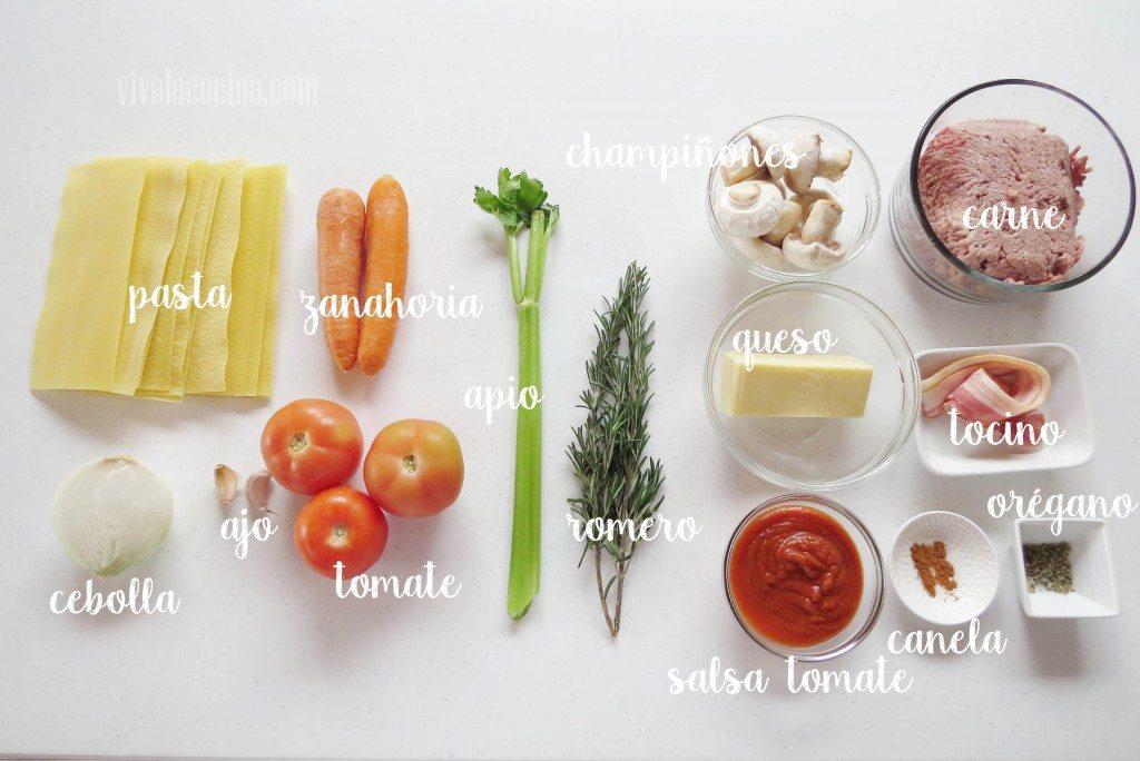 Ingredientes Lasaña boloñesa