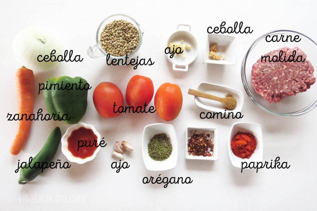 Ingredientes parar preparar chili de lentejas