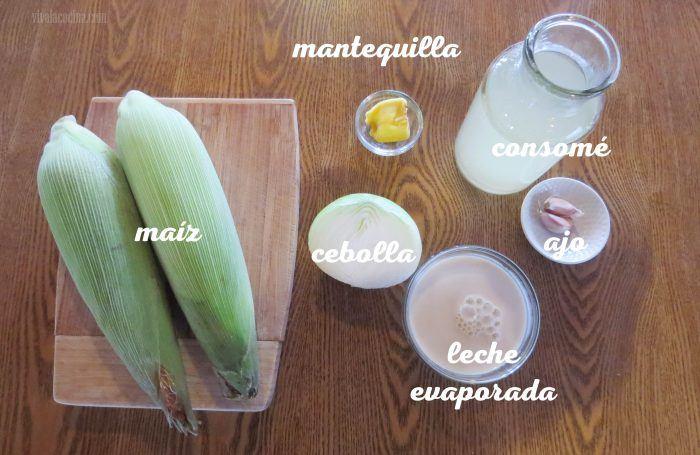 ingredientes para la crema de maíz tierno