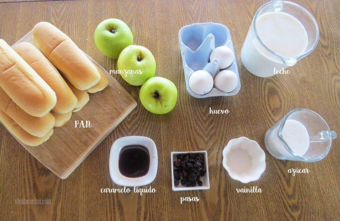 ingredientes para hacer un budín de pan con manzanas