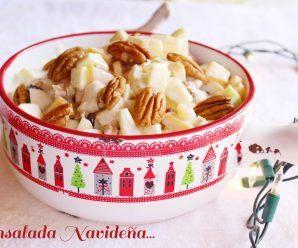 Ensalada Navideña. Deliciosa ensalada de manzana. Receta + Vídeo