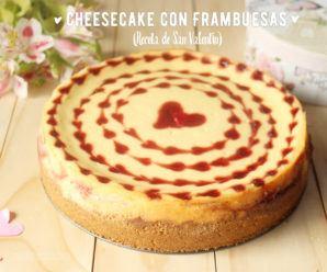Cheesecake de frambuesa y limón. Tarta para San Valentín. Receta y vídeo.