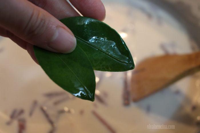 hojas de naranjo para elaborar postre de leche cocida