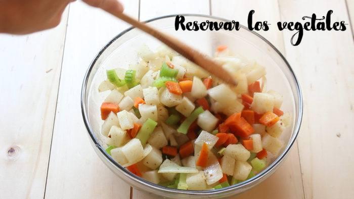 vegetales para hacer pollo almendrado