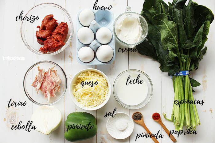 ingredientes para el relleno de quiche de chorizo