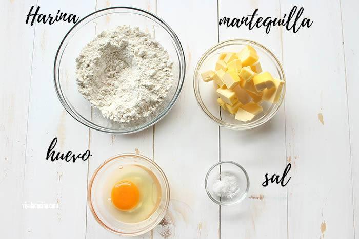 ingredientes para la masa de quiche de chorizo